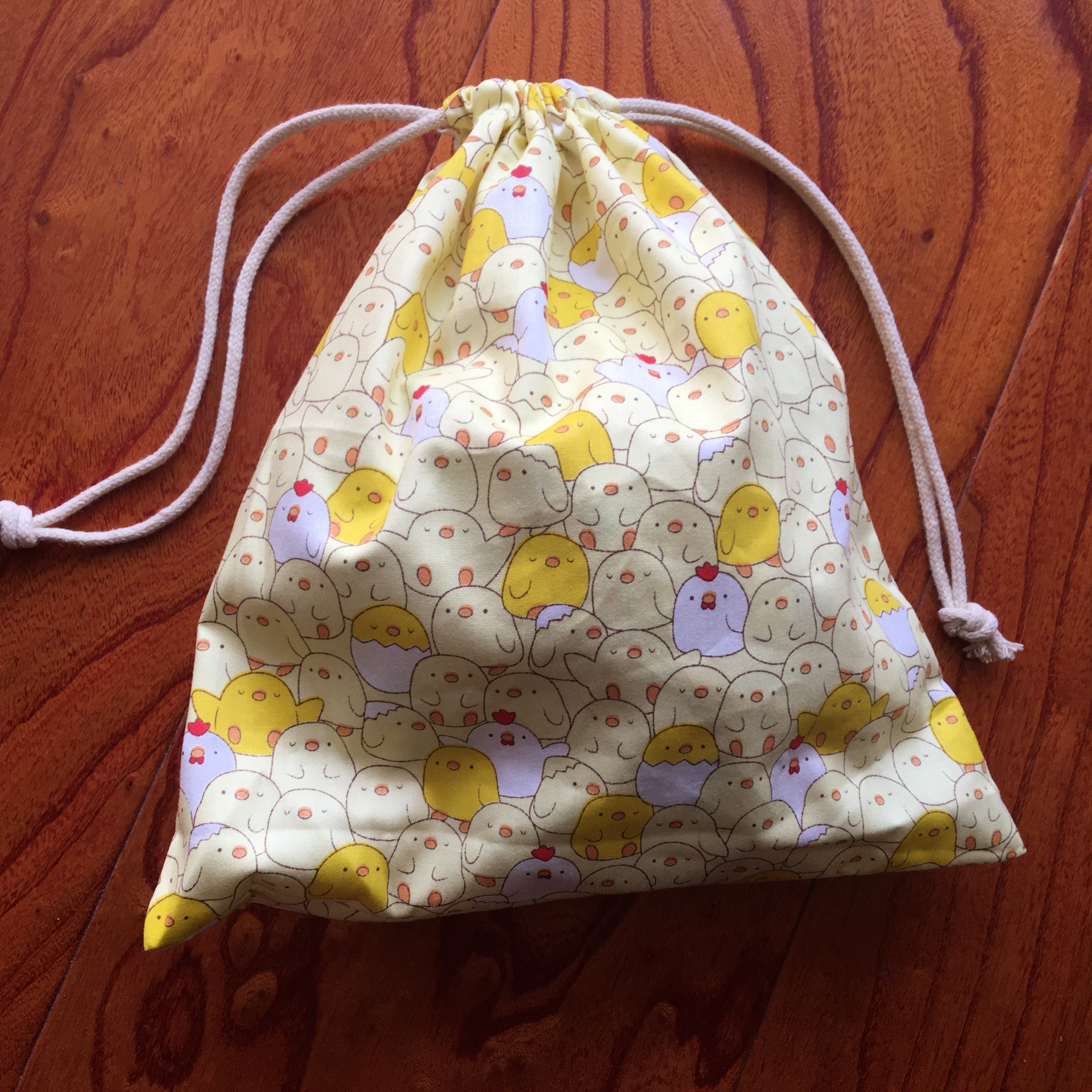1pc Cotton Drawstring Pouch Multi-purpose Bag Cartoon Yellow White Duck Party Gift Bag YILE
