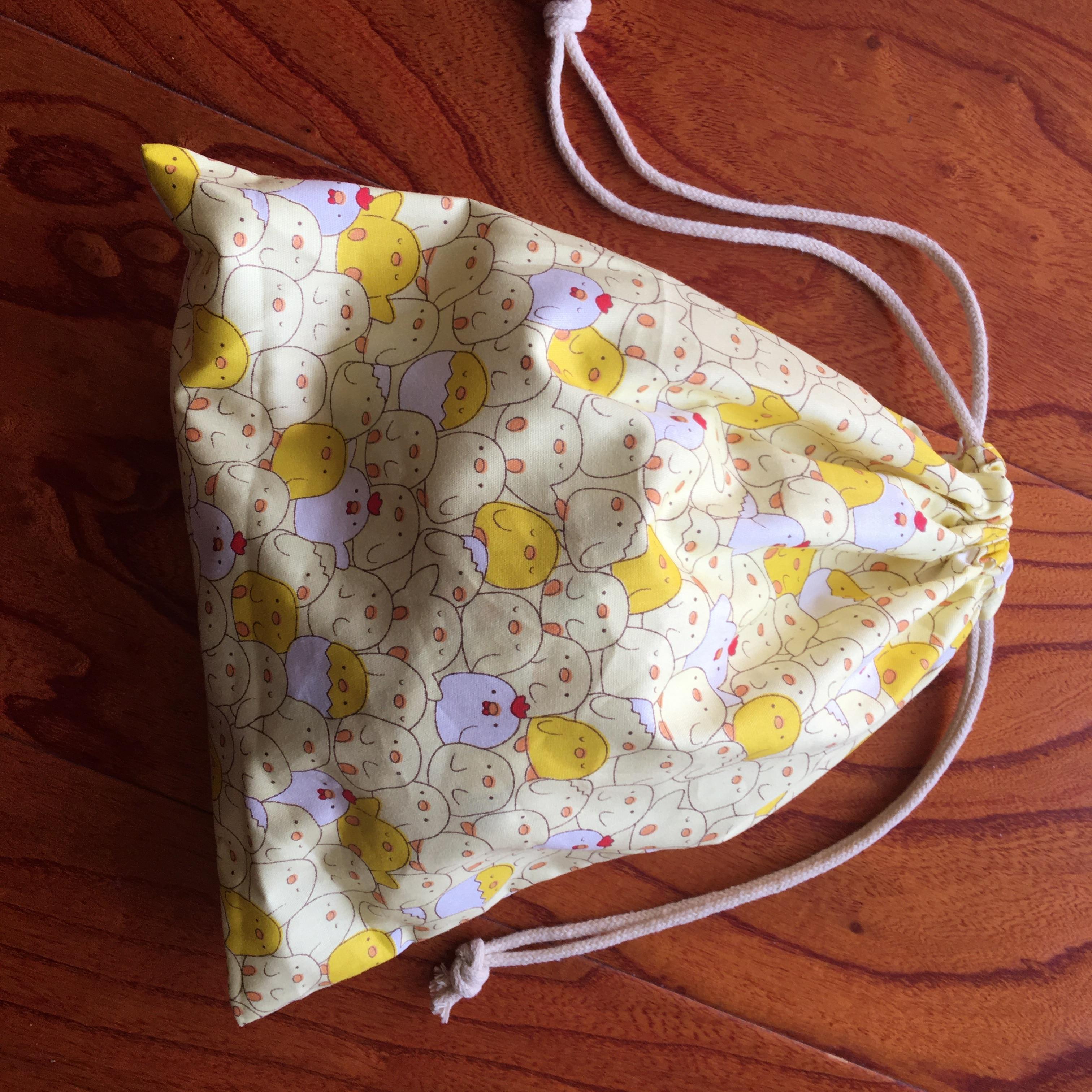 1pc Cotton Drawstring Pouch Multi-purpose Bag Cartoon Yellow White Duck Party Gift Bag YILE