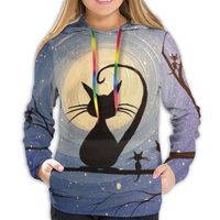NOISYDESIGNS Fashion Women Casual Simple Sweatshirt Starry Cat Print Hoodie Long Sleeve Comfortable Soft Sweatshirt Blouse New