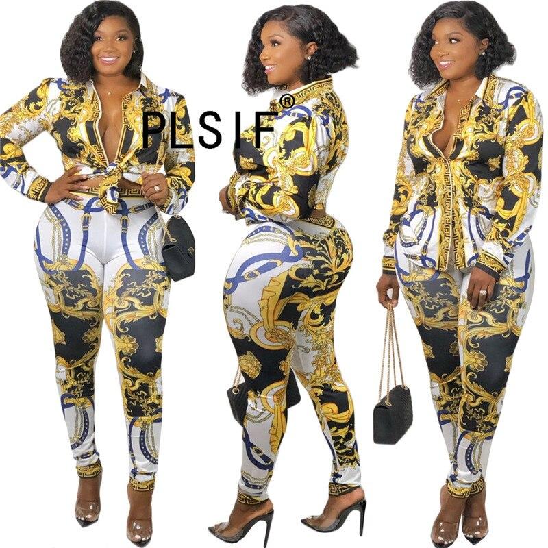 Styl Vintage drukuj kobiety ubrania zestaw koszula z pełnym rękawem i ołówkowe spodnie dwuczęściowy zestaw vintage fashion suit