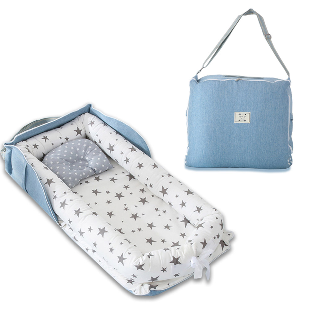 Newborn Baby Nest Bed Baby Crib Portable Travel Bed Cute Infant Cotton Cradle Washable Baby Bassinet Bedfor Boys Girls 0-12M