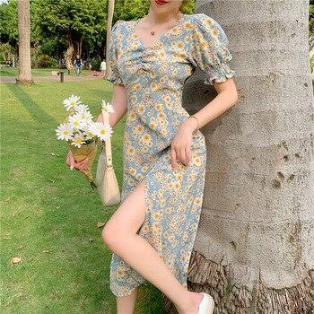 Idyllic style daisy floral dress female V-neck slim waist hem slit dress mid-length daisy print overlap hem dress