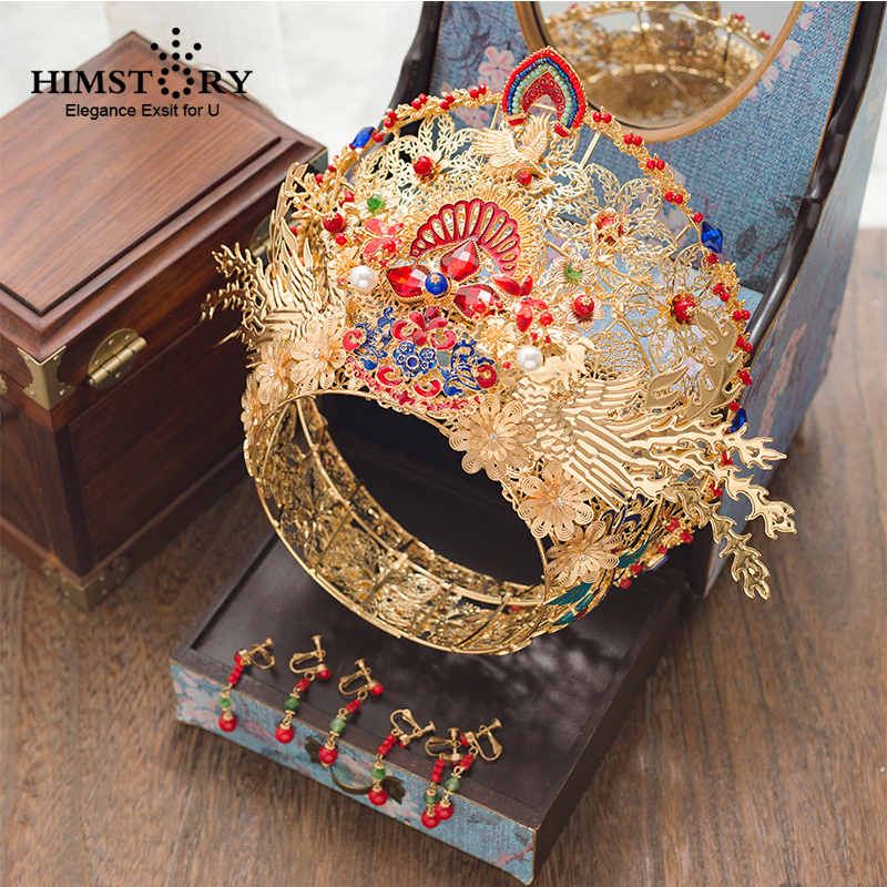 HIMSTORY Hair-Jewelry Wedding-Crown Chinese Bridal Handmade Round Gold Vintage Exaggerated