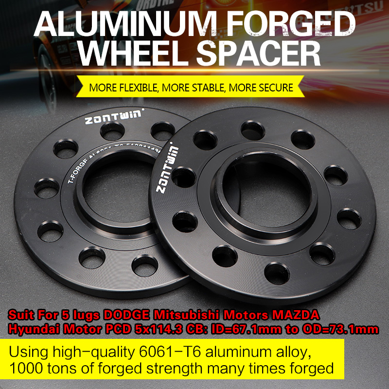 2/4 Pieces 3/5/8/10/12mm Wheel Spacer Adapters PCD 5x114.3 CB ID=67.1mm To OD=73.1mm For 5 Lugs DODGE Mitsubishi Motors MAZDA