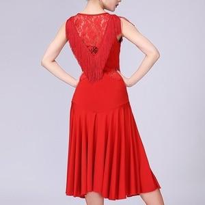 Image 3 - Vestido de baile latino para mujer, Ropa de baile con borlas/Tango/Rumba/traje de baile latino sin mangas, vestido de baile de competencia Latino
