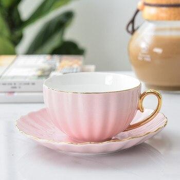 Tazas de porcelana y platillo de cerámica, juegos de té sencillos, Tazas de café de diseño moderno, color rosa