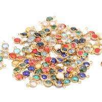 10 Uds. De colgantes de acero inoxidable con varios colores, piedras de cristal doradas, conectores de 6x12mm, para fabricación de joyas DIY, collares y pulseras
