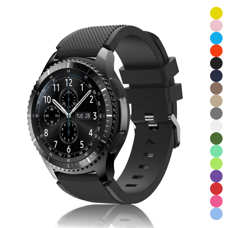 22mm band for <font><b>samsung</b></font> galaxy <font><b>watch</b></font> <font><b>46mm</b></font> gear S3 Frontier/classic huawei <font><b>watch</b></font> gt strap amazfit GTR 47mm silicone <font><b>bracelet</b></font> image