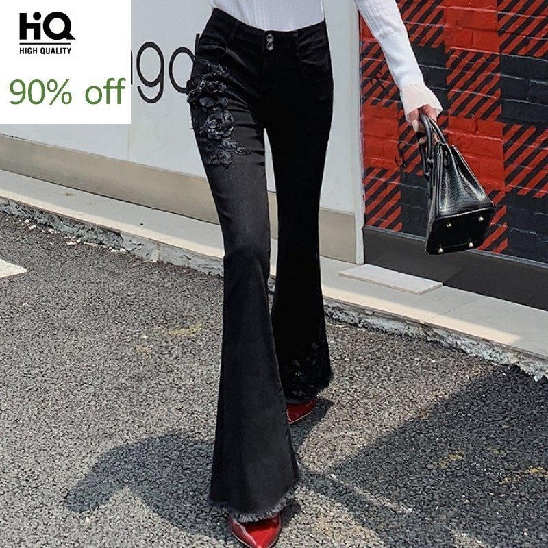 Fashion Black Embroidered Flare Jeans Women Autumn Winter Slim Fit Vintage Bell-Bottomed Pants High Wait Tassel Denim Trousers