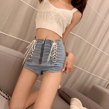 Hot Women Summer Denim Jeans Shorts female blue high waist denim women Sexy Zipper Skinny Slim trousers