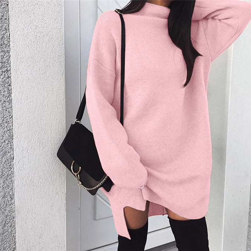 Women Autumn Winter Knit Dress Sweaters Fashion Turtleneck Long Sleeve Mini Dress Brief Casual Comfy Solid Color Straight Dress