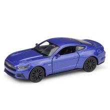 цена на Welly 1:36 Original box 2017 Ford Mustang GT Blue Pull Back Car Diecast Car Model Toy Vehicle Car Model Models Kids Car