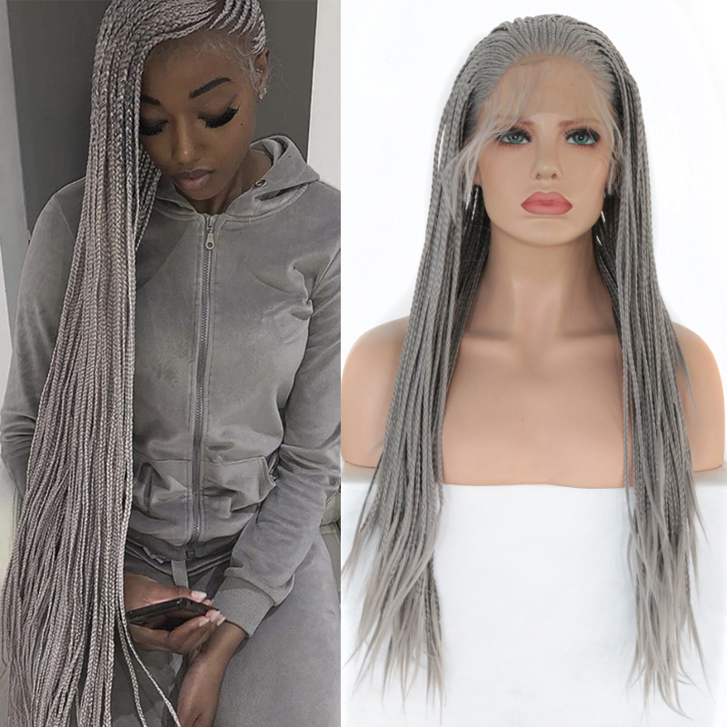 Charisma Long Silver Grey Braided Wigs For Women Heat Resistant Hair Synthetic Lace Front Wig With Baby Hair Box Braids Wigs