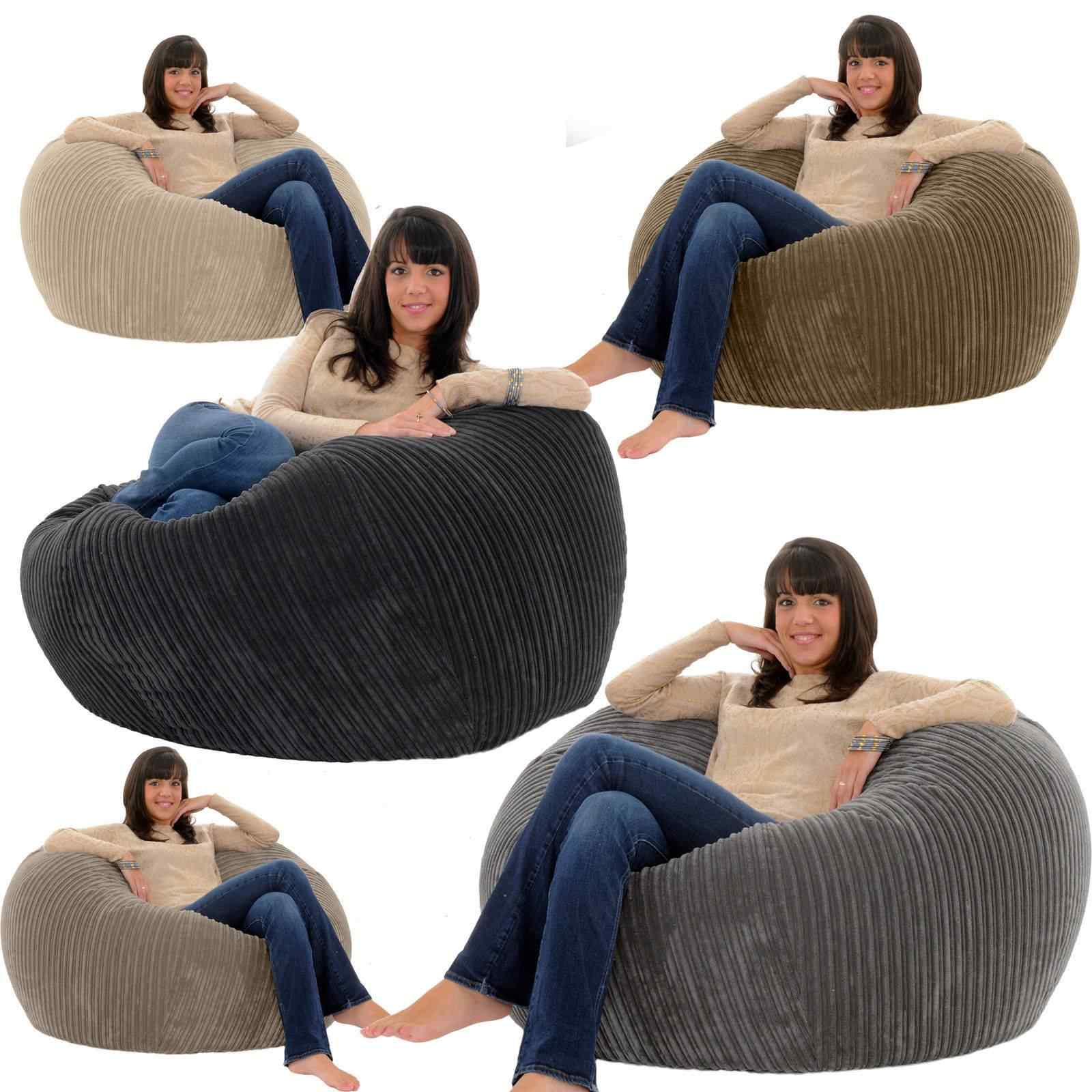 Large Lazy BeanBag Sofas Cover Chairs without Filler  Corduroy Lounger Seat Bean Bag Pouf Puff Couch Tatami Living Room Grey