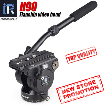 Flagship H90 All CNC Tech Video Fluid Head 15kg load Hydraulic Damping adjustable Monopod Tripod Heads for Manfrotto 501PL