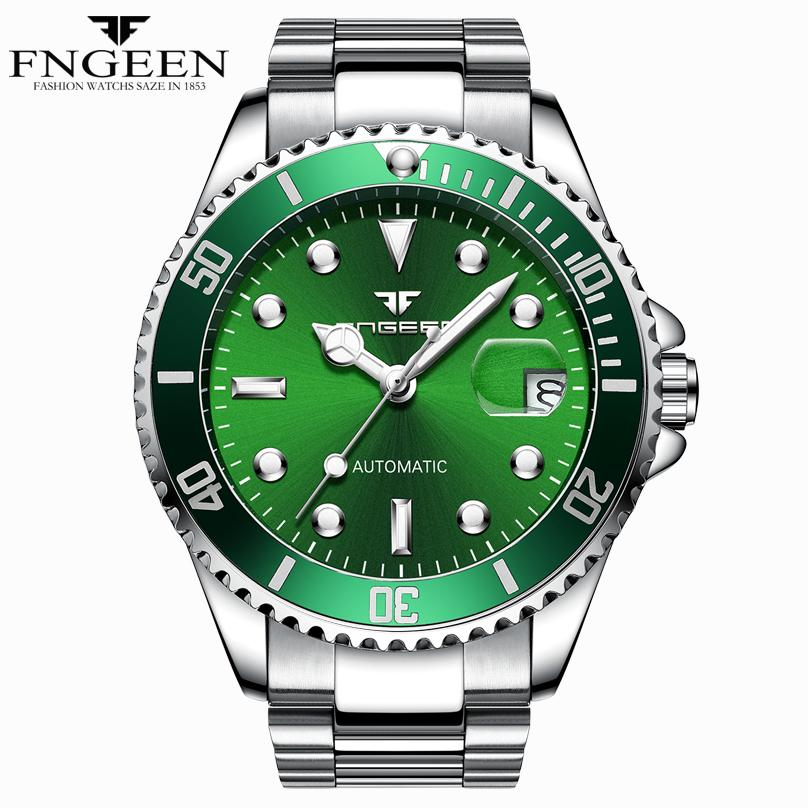 FNGEEN Mens Fashion Luxury Automatic Mechanical Watch Stainless Steel Waterproof Luminous Mens Watch Relogio Masculino