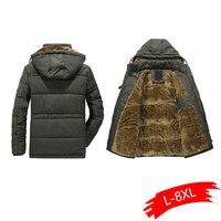 Men Winter Pakas 6XL 7XL 8XL Thick Warm Parka Fleece Fur Hooded Military Coat Pockets Windbreaker Men Plus Size Parka