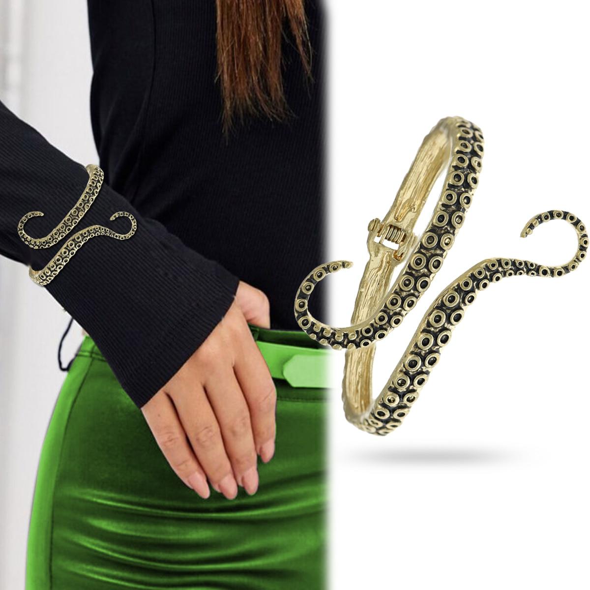 RechicGu Vintage Octopus Tentacle Animal Sea Ocean Hinged Open Bracelet Bangle Cuff Scary Horror Goth