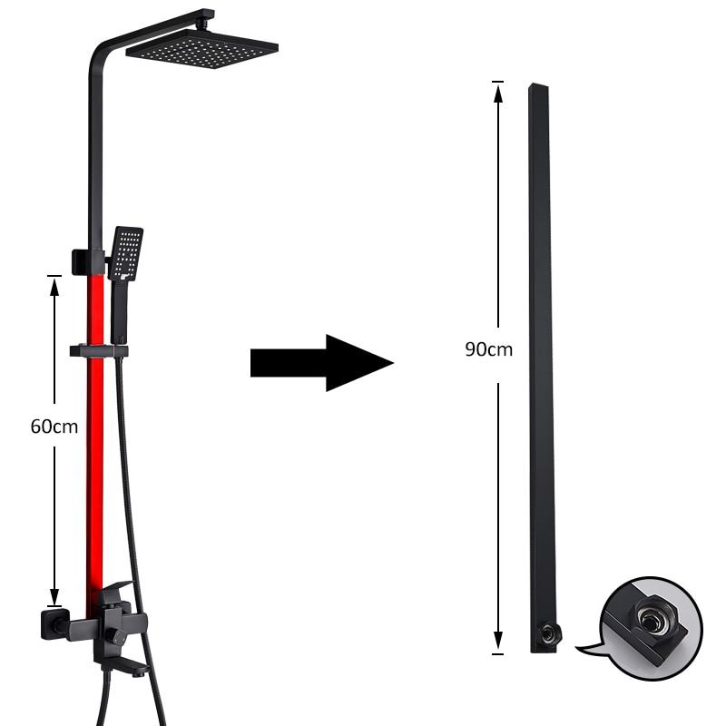 Faucet Extension-Pipe Shower-Accessories Black Chrome Quyanre for 90cm