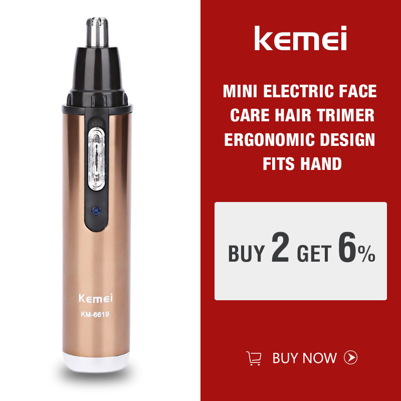 Kemei KM-6619 Personal Electric Nose & Ear Trimmer Man & Woman Face Care Eyebrow Removal Rechargable Hair Trimmer Clipper Shaver