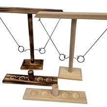 Jogos de tabuleiro portáteis do jogo exterior para adultos das crianças e diversão da família jogo do lance do anel para adultos, ganchos de madeira feitos à mão do lance do anel
