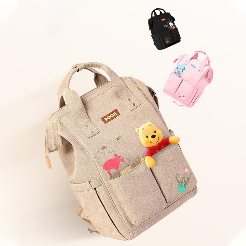 DISNEY Winnie Cartoon Baby Bags For MomTraveling Diaper Bag Backpack Multifunctional Bottle Insulation Wet Bag Baby Organizer