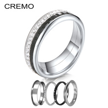 Cremo  Gear Rings Stainless Steel Ring Set Femme Combination Interchangeable Fidget Meditation Machinery Wedding Band Gift