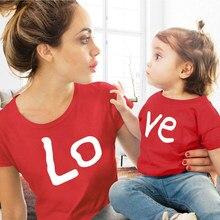 Vêtements assortis amour pour la famille, vêtement en coton rouge pour mère et fille, motif imprimé, pour maman et moi, bébé fille et garçon