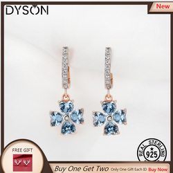 925 Sterling Silver Dangle Earrings Clover Created Gemstone Sky Blue Topaz For Women Gifts Elegant Fine Jewelry Rose Gold Plated