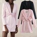 Женское свободное платье с бантом ZA, вечерние тное вечернее платье-трапеция с глубоким V-образным вырезом для девушек, повседневный наряд тр...