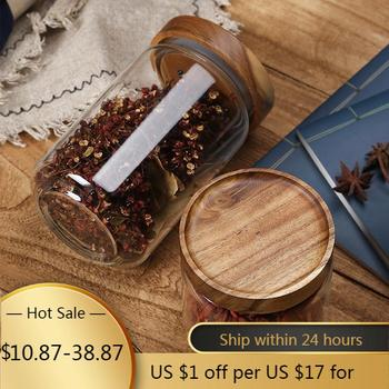 Bamboo Lid Glass Airtight Canister Storage Bottles Multipurpose Spices Storage Box Dustproof and Moisture Proof Jars for Spices glass storage jars with bamboo lids cereal dispenser storage bottles high capacity glass containers for food spices candy jar