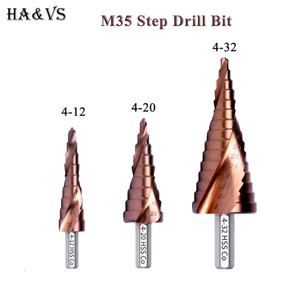 M35 5% Cobalt HSS Step Drill Bit HSS CO High-Speed Steel Cone Triangle Shank Metal Drill Bits Tool Set Hole Cutter For Stainles