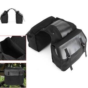 Motorbike Saddle Bag Motorcycle Canvas Black Touring Waterproof Panniers Box Backseat Saddle Bag Trunk Luggage Travel Bags ring detail saddle bag