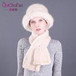 Зимние шапки из натурального меха норки и прямой набор шарфов из меха норки, вязаные женские теплые шапки из натурального меха норки, набор ...