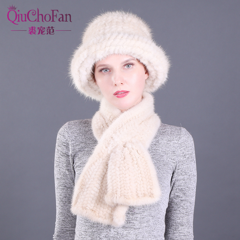 Winter Natural Mink Fur Bucket Caps & Straight Mink Fur Scarves Set Knitted Women Warm Real Mink Fur Caps Scarf Set Party Gift