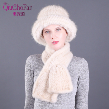 Winter Natural Mink Fur Bucket Caps & Straight Mink Fur Scarves Set Knitted Women Warm Real Mink Fur Caps Scarf Set Party Gift 2 pieces lady winter genuine mink fur bucket hats scarves set knitted women warm natural mink fur caps with fox fur ball scarf