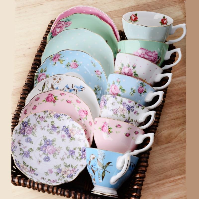 Kemik çini kahve fincan seti İngilizce öğleden sonra çay takımları Coffeeware seti 170ml siyah çay fincanları ve altlık İngilizce çay seti