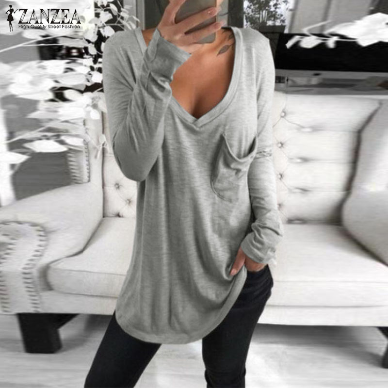 2019 ZANZEA Autumn V Neck Long Sleeve Blouse Women Casual Solid Basic Tee Femininas Blusas Sexy Ladies Shirts Chemise Femme Tops