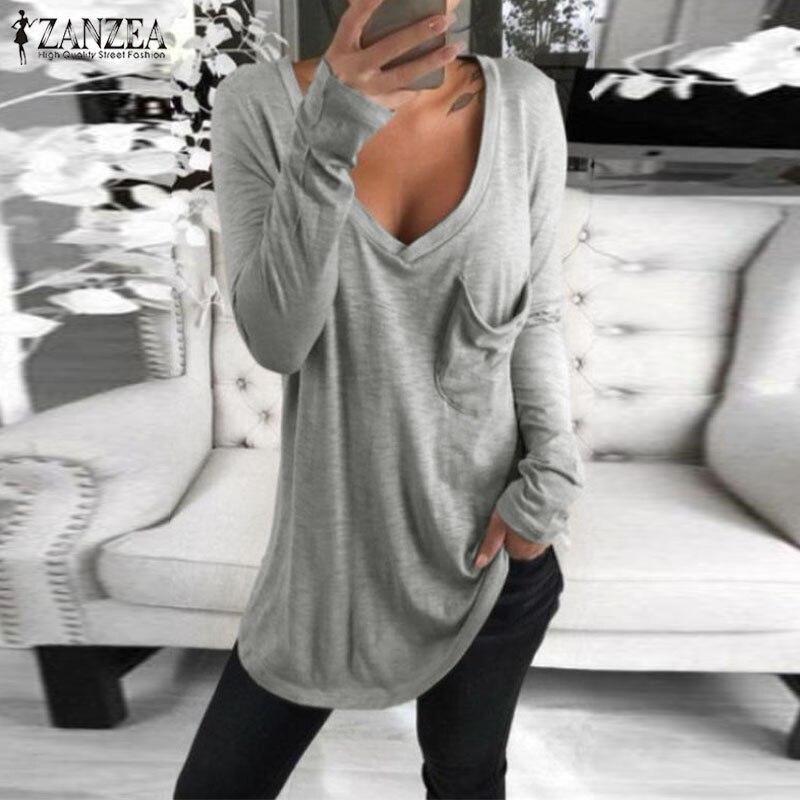 2019 ZANZEA automne col en V à manches longues Blouse femmes décontracté solide base Tee Femininas Blusas Sexy dames chemises Chemise Femme hauts
