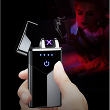 Electric double arc lighter USB rechargeable windproof flameless plasma pulse lighter with LED power display USB lighter