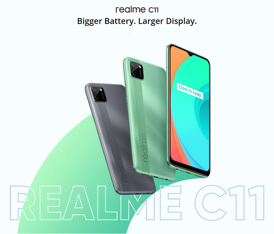 realme C11 6.5'' Global Version 2GB RAM 32GB ROM Helio G35 5V/2A charger 5000mAh 13MP AI Dual Camera Octa Core 4G Mobile Phone