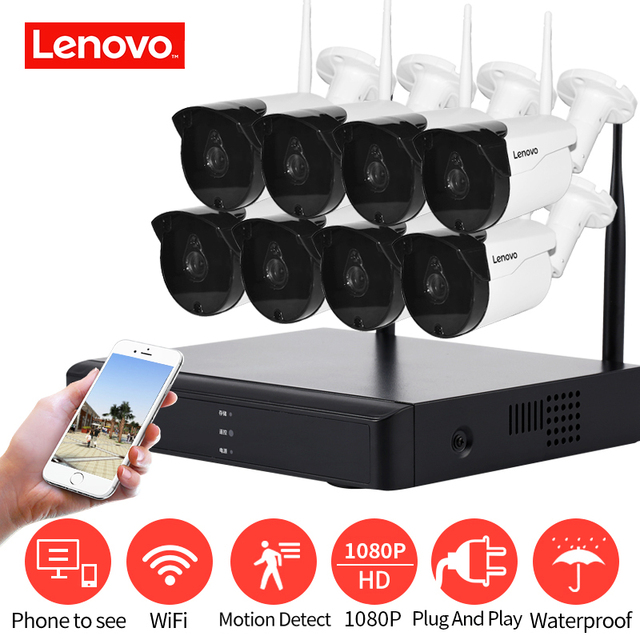 LENOVO Wireless CCTV System 1080P  outdoor CCTV Camera 2MP 8CH NVR IP IR CUT  IP Security System video Surveillance
