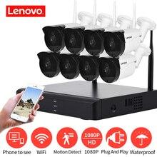 LENOVO système de vidéosurveillance sans fil 1080P, vidéosurveillance dextérieur, 2MP 8CH NVR IP IR CUT, système de sécurité IP
