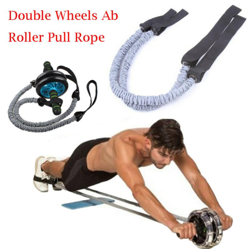 2PCS Double Wheels Pull Rope Abdominal Exercise Rope Stretch Trainer Resistance Band Exercise Elastic Pull Rope Ab Slimming