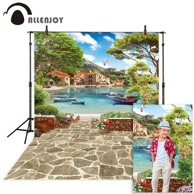 Allenjoy paysage photographie toile de fond venise été lac navire pierre fleur photo arrière plan studio photocall photophone vue