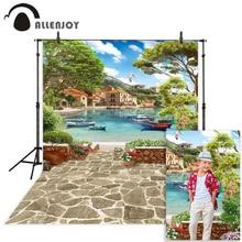 Allenjoy المناظر الطبيعية التصوير خلفية البندقية الصيف بحيرة السفينة حجر زهرة صور خلفية استوديو فوتوكلوس photophone عرض