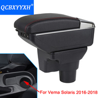 For Hyundai Solaris Verna 2016 2018 Armrest Box Central Store Content Box Cup Holder Interior Car styling Products Accessory