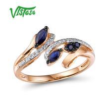 VISTOSO золотые кольца для женщин, настоящее кольцо из розового золота 14 к 585 пробы, сверкающий бриллиант, натуральный синий сапфир, роскошные трендовые ювелирные изделия