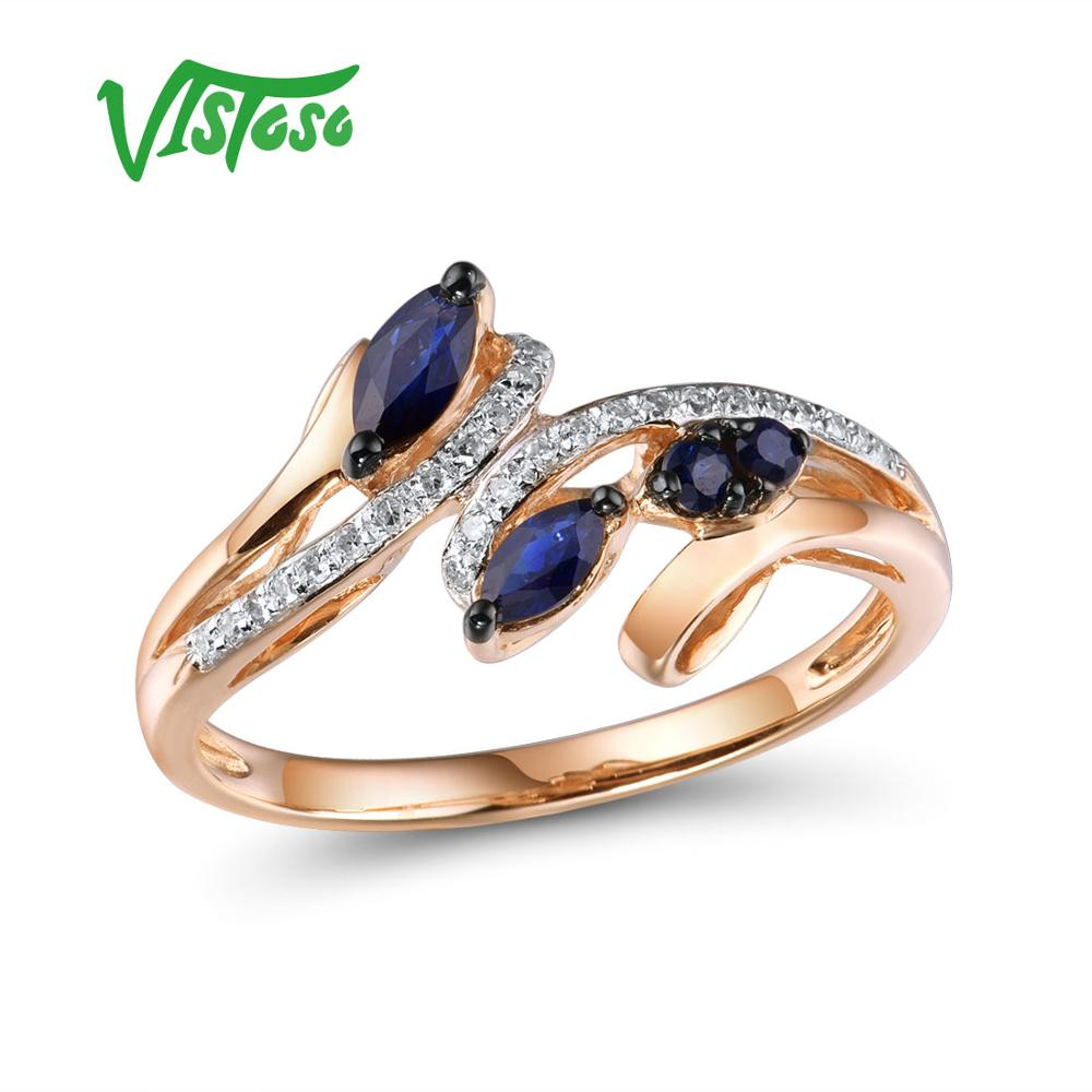 VISTOSO Gold Rings For Women Genuine 14K 585 Rose Gold Ring Sparkling Diamond Natural Blue Sapphire Luxury Trendy Fine Jewelry