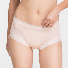 Underwear Panties Lace-Band Mulberry Silk Women Boxer Mid-Waist Soft Viscose Birdsky